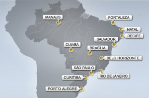 2014 FIFA World Cup Host Cities Map